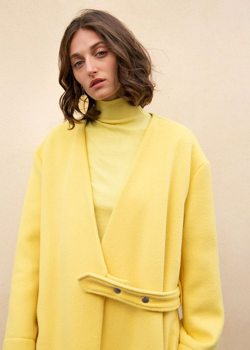 Yellow Collarless Belted Coat by Ter et Bantine coat Ter et Bantine