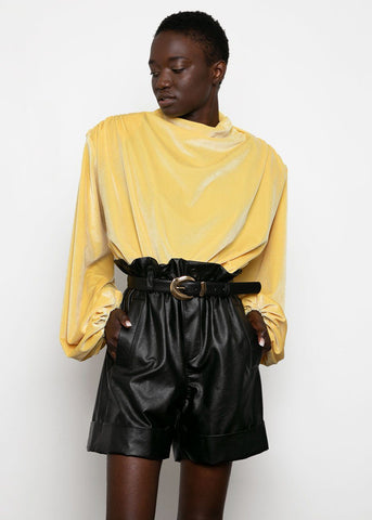 Yellow Velvet Voluminous Top Top VanNzill