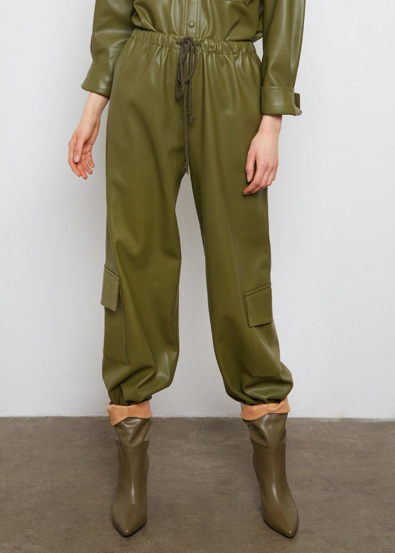 Yoyo Leather Cargo Pants in Green Pants The Frankie Shop
