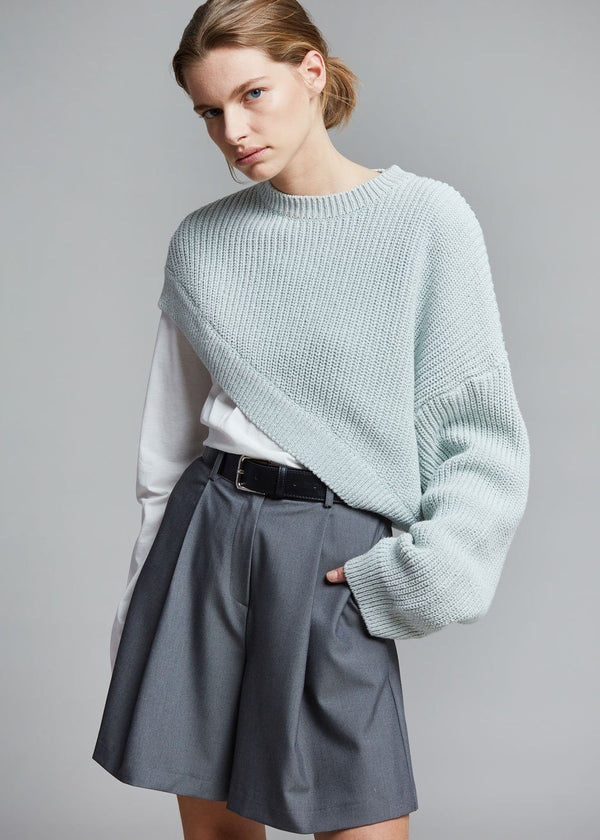 Zahra One Sleeve Pullover in Pale Blue Sweater money packing