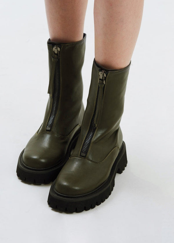 Zip Front Short Lug Sole Boots in Cypress shoes Solea