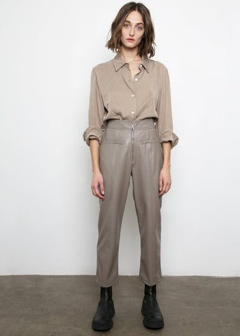 Zip Front Taupe Leather Pants Pants Posh