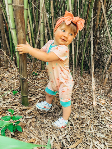 child in bamboo forest