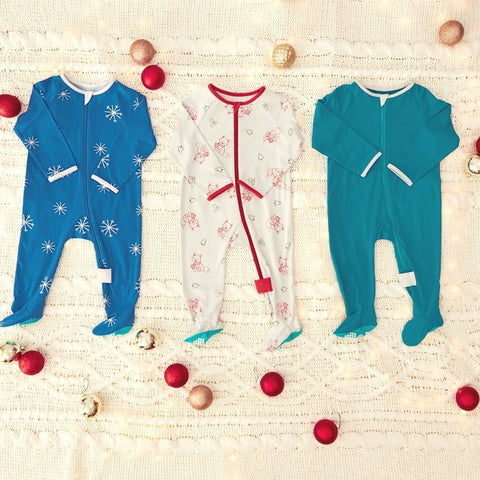 colorful collection of holiday pajamas by lark adventurwear