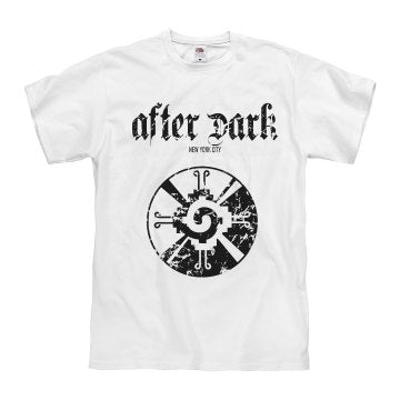 """After Dark"" tee (white) front"