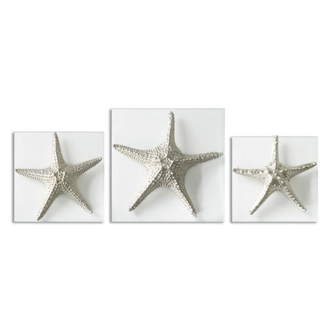 Silver Starfish Wall Art, S/3