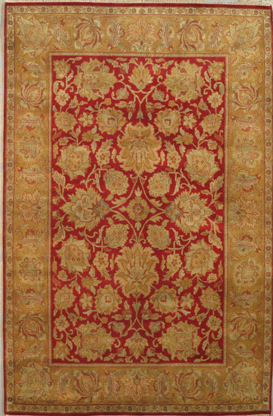 Hand-Knotted Agra Red/Gold Area Rug