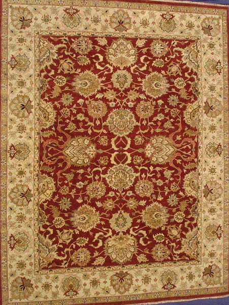 Hand-Knotted Red/Ivory Agra Design Area Rug