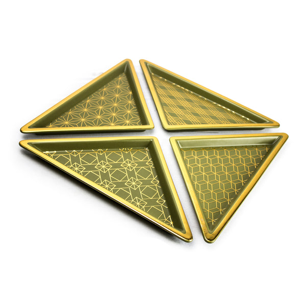 S/4 Green/Gold Ceramic Triangle Trays