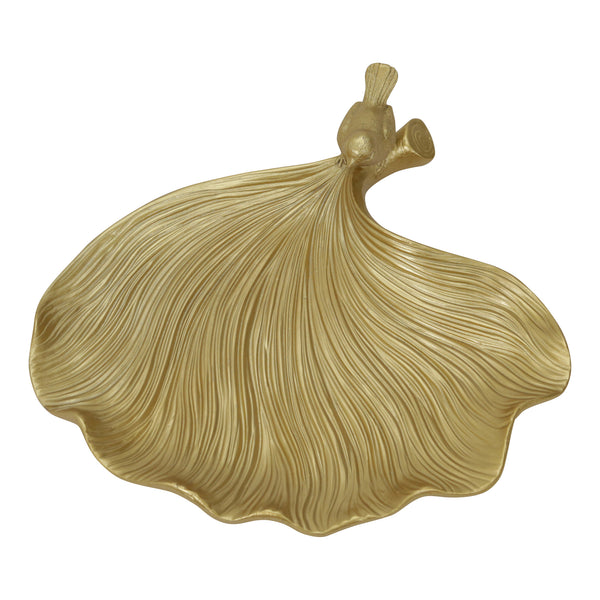 Gold Resin Ginkgo Leaf Plate