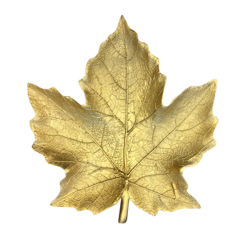 Decorative Resin Maple Leaf Plate, Gold
