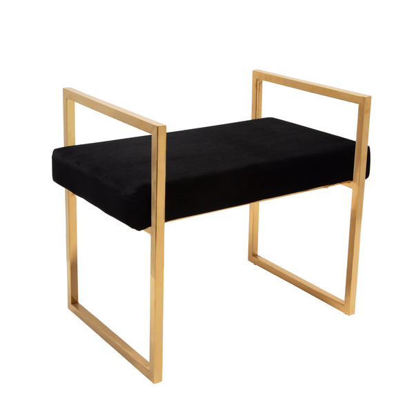 Black/Gold Velveteen Bench W/Handles