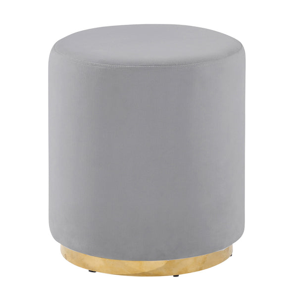 Gray/Gold Velveteen Stool