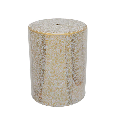 Ec, Gold Crackle Ceramic Garden Stool