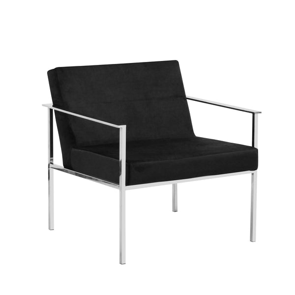 Black/Silver Velveteen Arm Chair