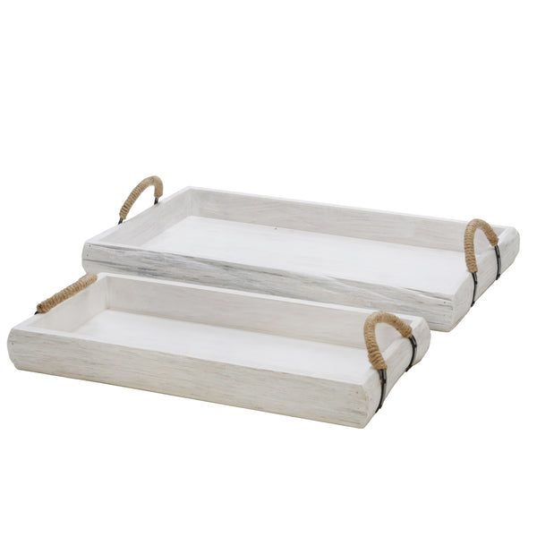 S/2 Wood Trays, White Wash
