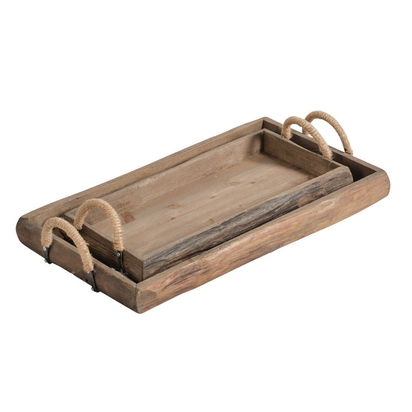 S/2 Wood Trays, Brown