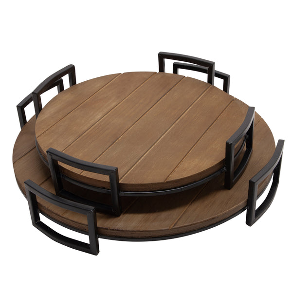 S/2 Round Wood Trays, Brown