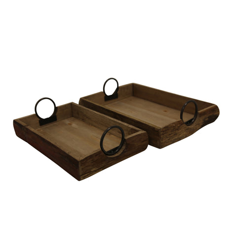 S/2 Wood Trays 19X13X5
