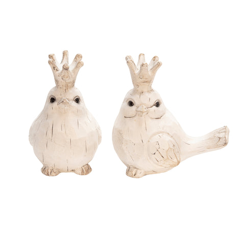 S/2 Resin Birds W/ Crowns, White