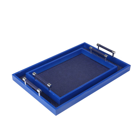 S/2 Decorative Trays, Navy