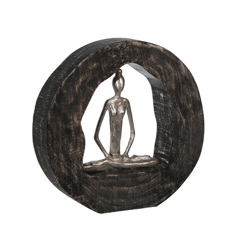 Aluminum Yoga Lady In Circle Log 10.5