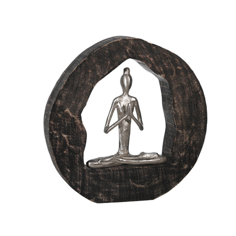Aluminum Yoga Lady In Circle Log 11