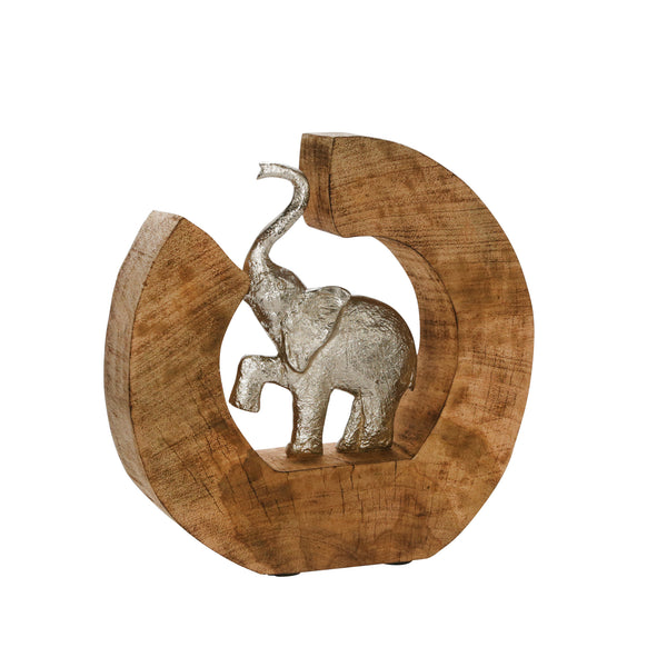 Aluminum Elephant In Mango Wood, Silver/Brown