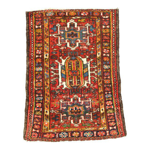 Antique Persian Karajeh Hand-Knotted Rug