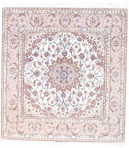 Ivory Isfahan Hand-Knotted Silk & Korker Rug
