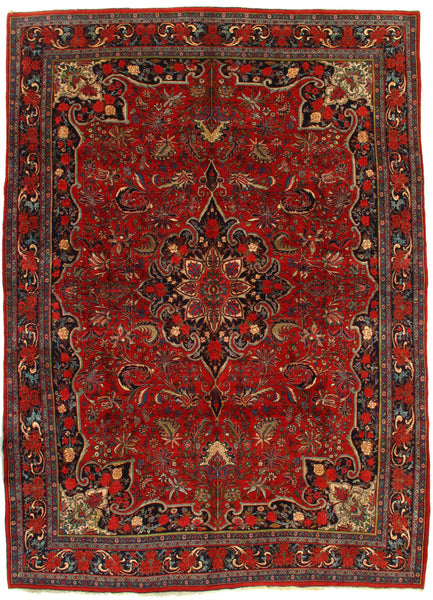 Antique Persian Bidjar Hand-Knotted Rug