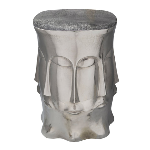 Metal Multi Faced Stool, Silver