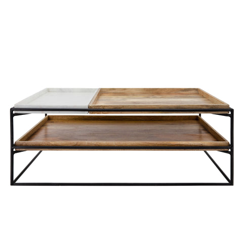 2-Layered Wood/Marble Coffee Table, Brown