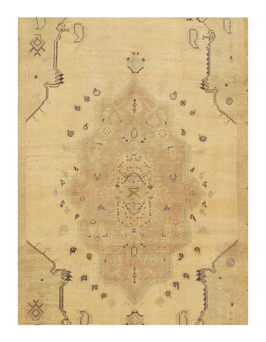 Beige Antique Oushak Rug
