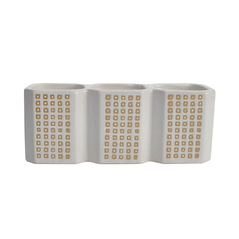 3-Cup Dotted Pen Holder, Beige
