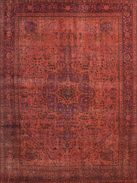 Hand-Knotted Orange Overdyed Wool Area Rug