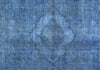 Hand-Knotted Blue Overdyed Wool Area Rug