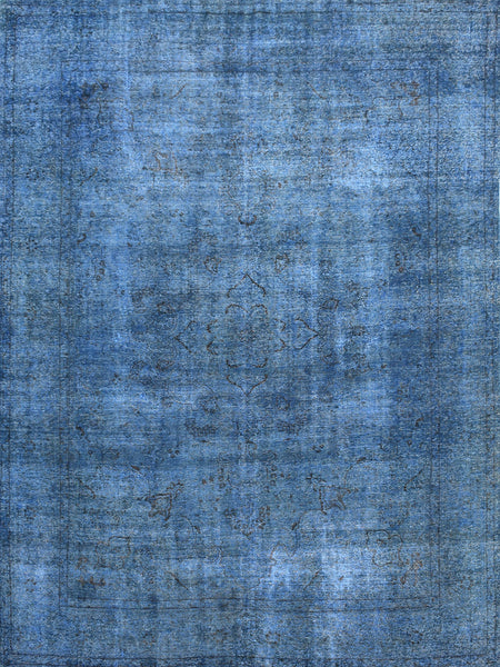 Hand-Knotted Vintage Blue Overdyed Wool Rug