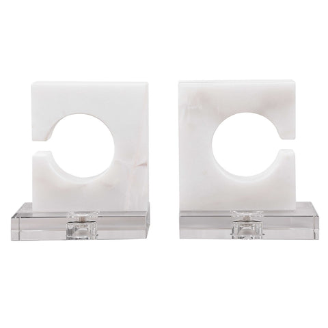 Clarin White & Gray Bookends, S/2