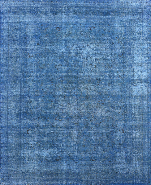 Hand-Knotted Overdyed Vintage Blue Area Rug