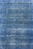 Hand-Knotted Overdyed Blue Vintage Rug