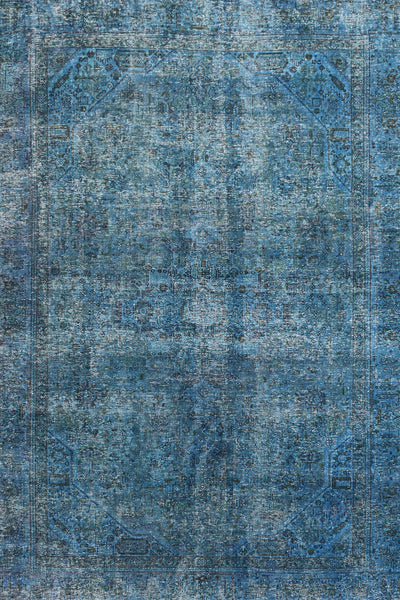 Hand-Knotted Overdyed Vintage Wool Rug