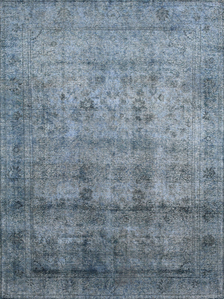 Hand-Knotted Overdyed Grey Lamb's Wool Rug