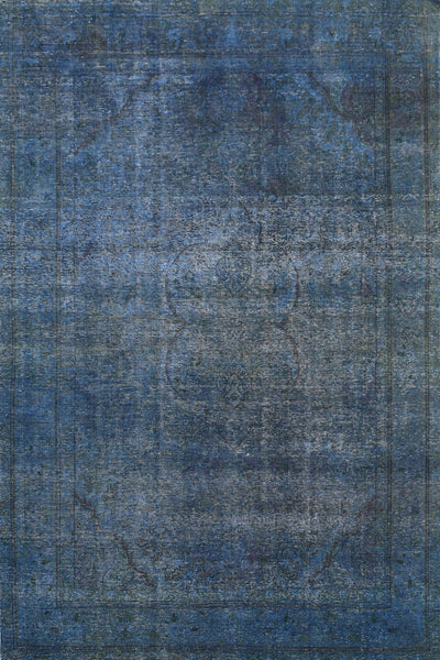 Hand-Knotted Overdyed Vintage  Navy Area Rug