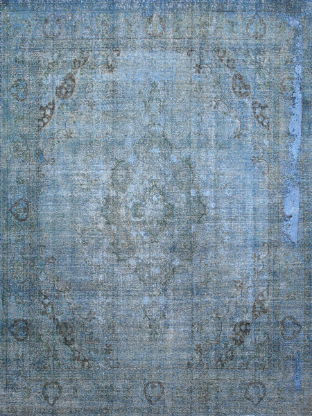 Hand-Knotted Overdyed  Blue Wool Area Rug