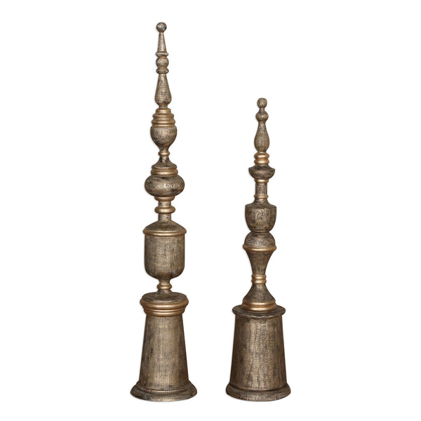 Nalini Antique Gold Finials S/2