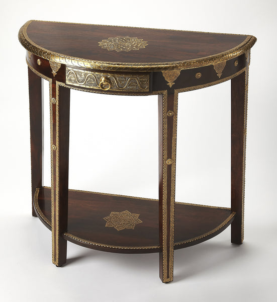 Ranthore Brass Demilune Console Table