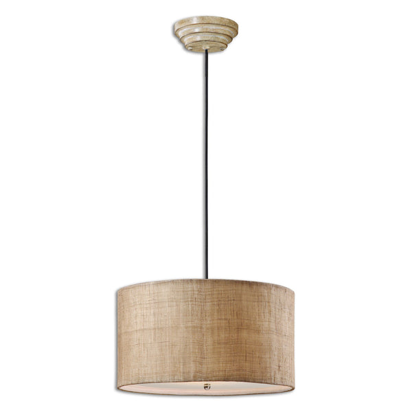 Dafina 3 Light Burlap Drum Pendant