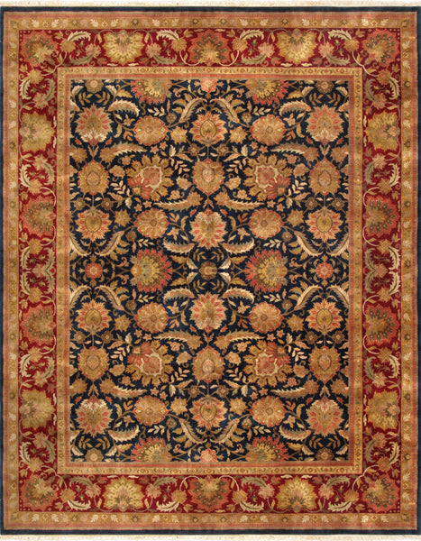 Hand-Knotted Agra Navy/Red Area Rug