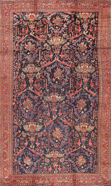 Hand-Knotted Antique Sultanabad Lamb's Wool Rug